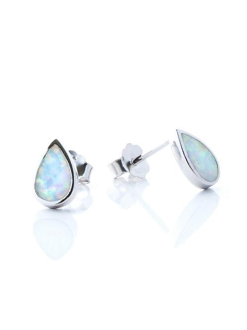White Opal Teardrop Studs