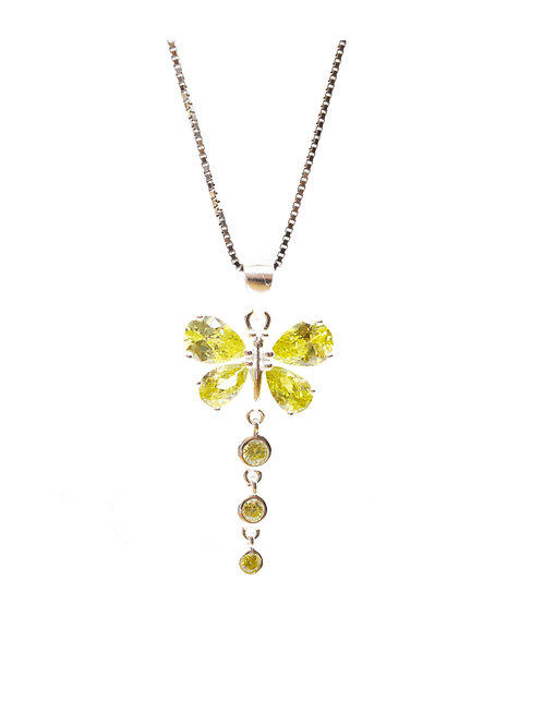Citrine Coloured Butterfly Pendant