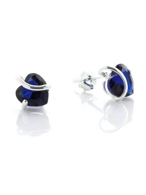 Sapphire Heart Stud Earrings