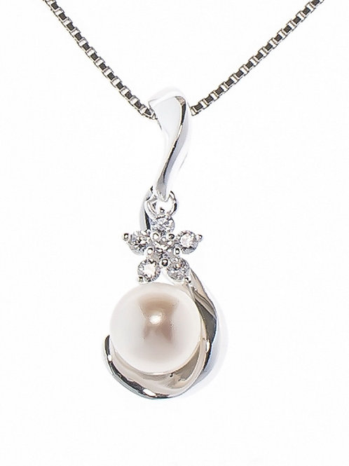 Pearl and Crystal Flower Pendant