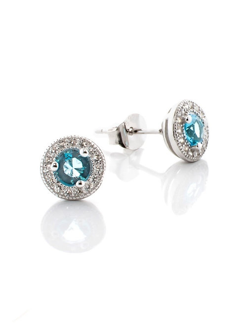 Aquamarine Pave Earrings