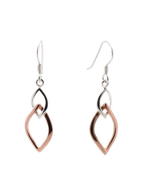 Two-tone Linked Drop Earrings