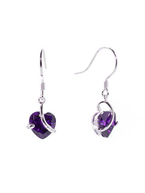 Amethyst Heart Drop Earrings