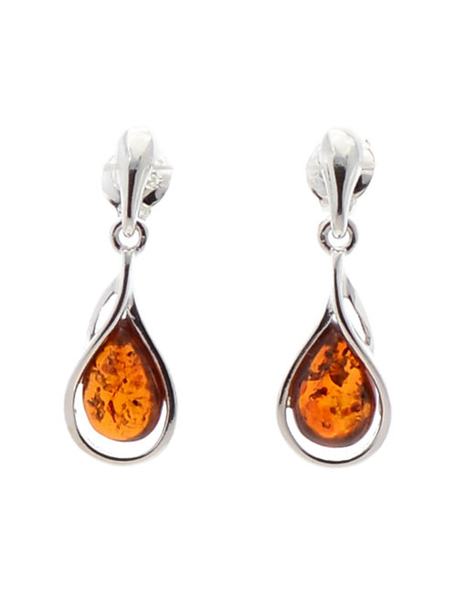 Amber Teardrop and Silver Bar Studs