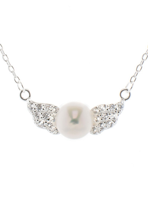 Pearl Angel Wing Necklace
