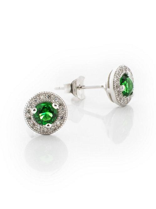 Round Emerald Green Pave Studs