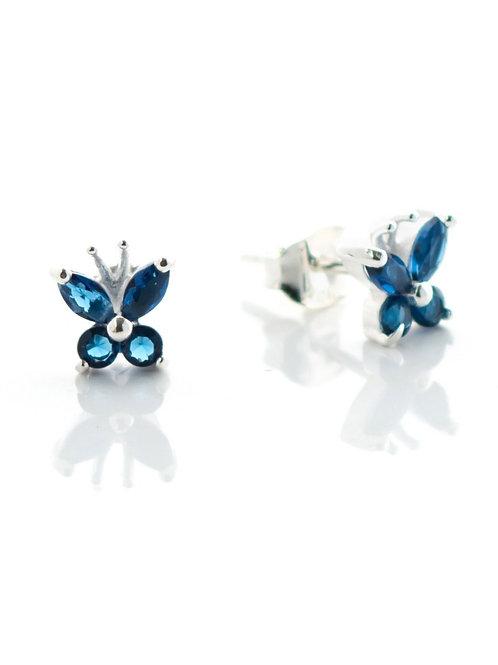 Small Sapphire Blue Butterfly Studs