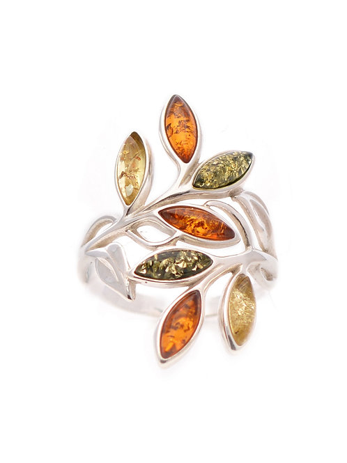 Mixed Amber Leaves Ring