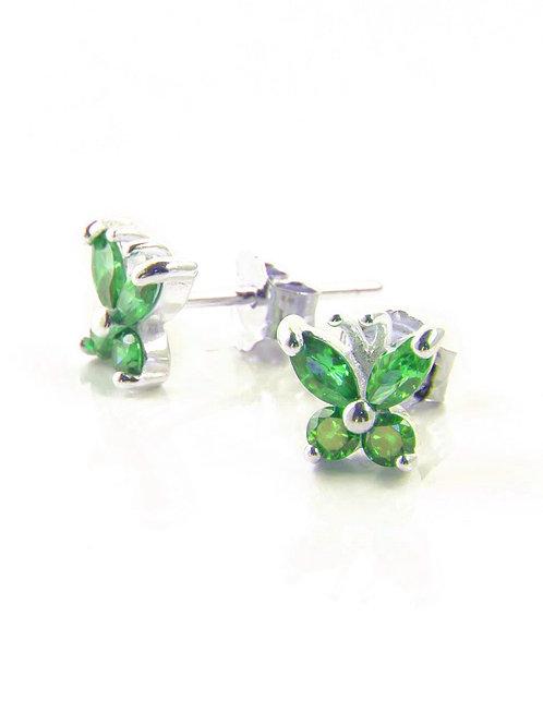 Emerald Butterfly Studs