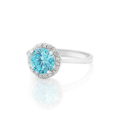 Aquamarine Pave Birthstone Ring