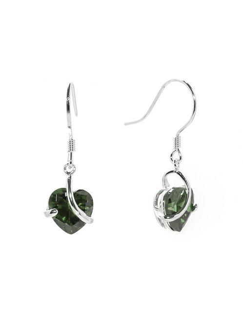 Peridot Heart Drop Earrings