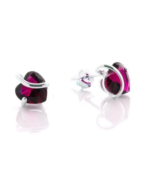 Ruby Heart Stud Earrings