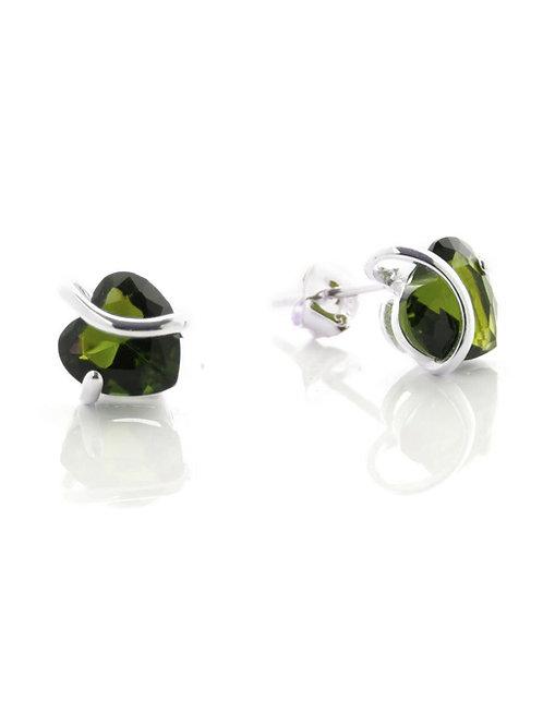 Peridot Heart Stud Earrings