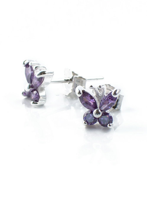 Small Amethyst Butterfly Studs