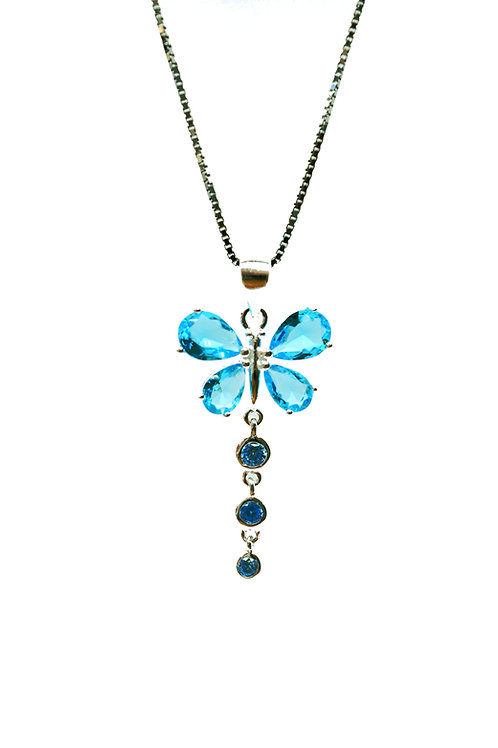 Aquamarine Coloured Butterfly Pendant