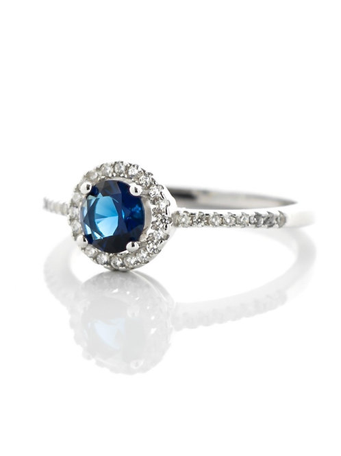Sapphire Blue Small Pave Ring