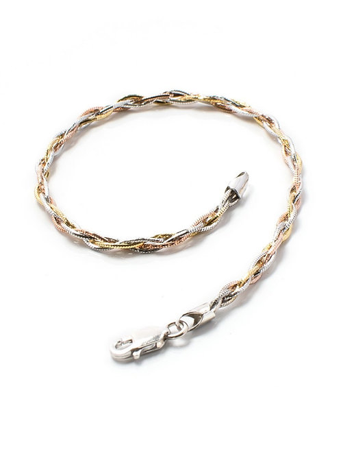 Three Gold Silver Rope Bracelet