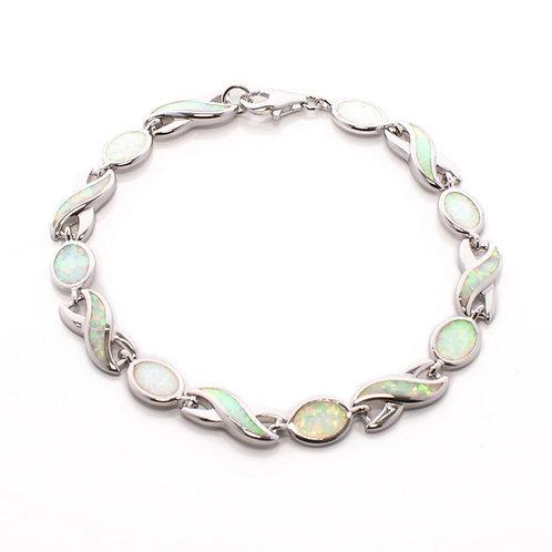 White Opal Wave Bracelet