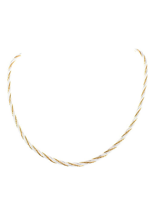 Italian silver and gold rope necklace