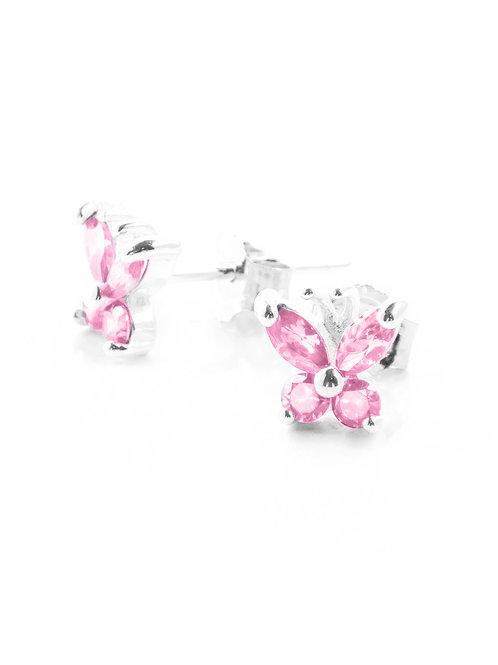 Pink Tourmaline Butterfly Studs