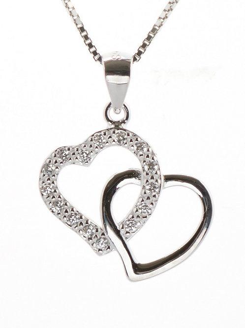 Double Heart Pave Pendant
