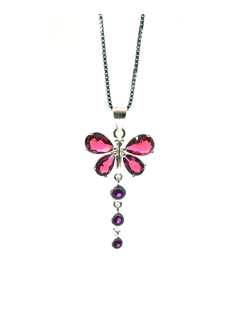 Ruby Coloured Butterfly Pendant