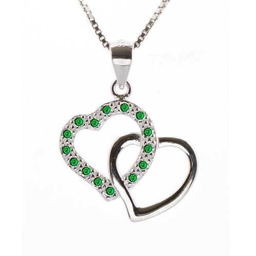 Emerald coloured Double Heart Pendant