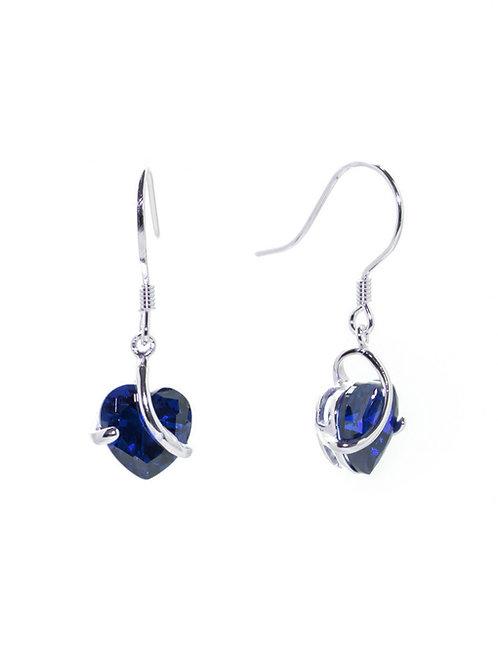 Sapphire Heart Drop Earrings