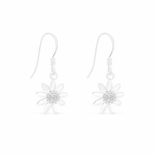Silver Daisy Drop Earrings