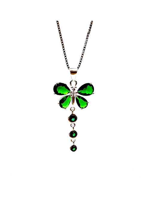 Emerald Coloured Butterfly Pendant