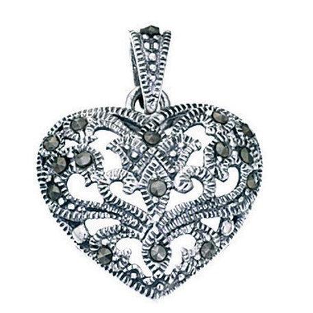 Marcasite Heart Pendant