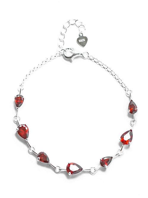 Garnet Red Teardrop Bracelet