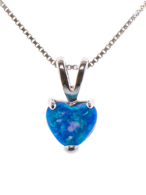 Blue Opal Heart Pendant