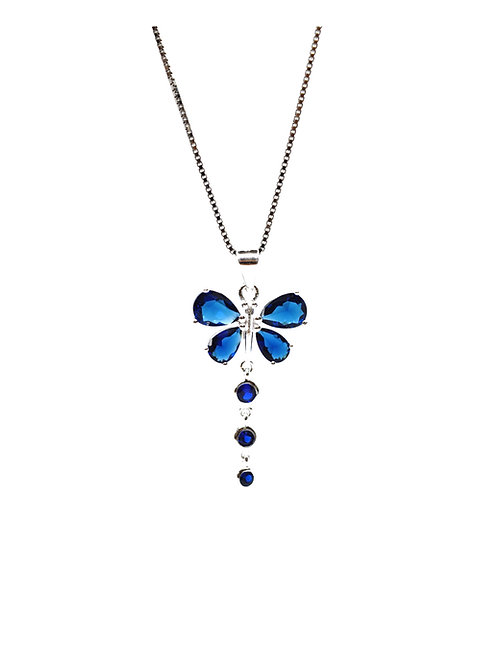 Sapphire coloured Butterfly Pendant