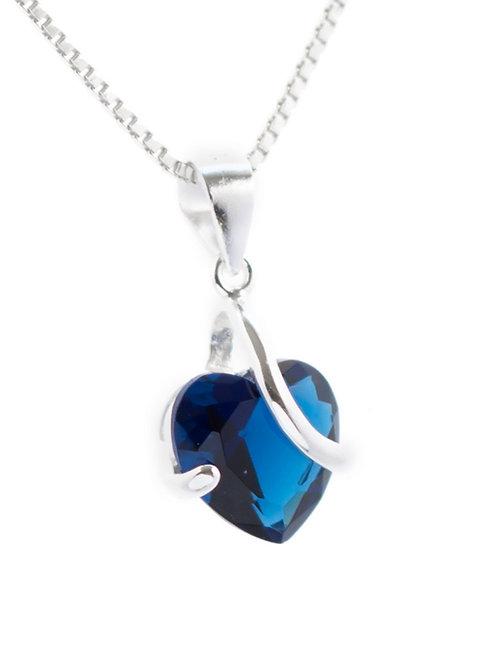 Sapphire Blue Heart Pendant