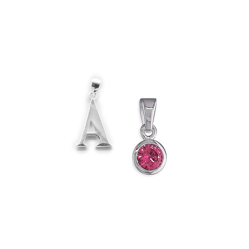 Birthstone and Initial Pendant