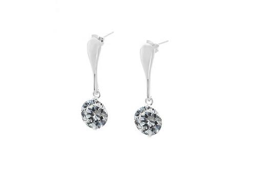 Crystal Silver Bar Drop Earrings