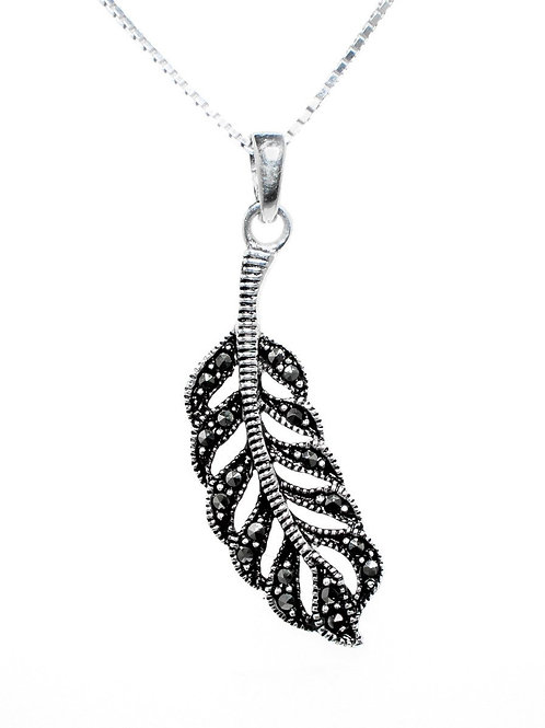 Marcasite Feather Pendant