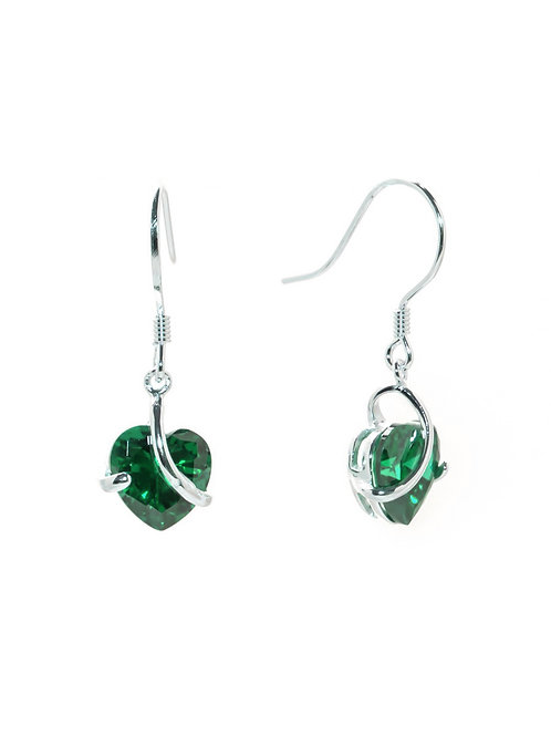 Emerald Green Heart Drop Earrings