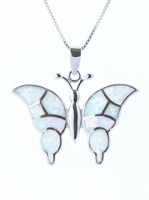 White Opal Butterfly Pendant
