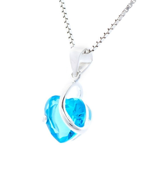 Topaz Blue Crystal Heart Pendant