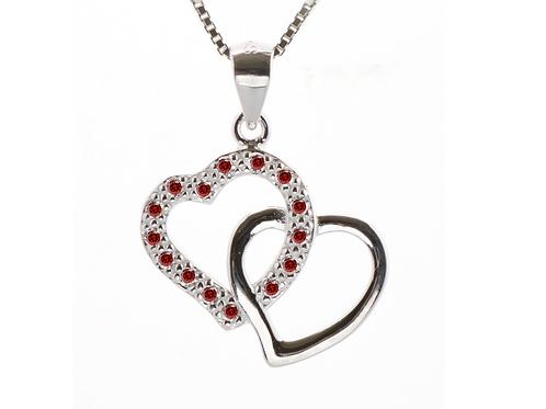Garnet Coloured Double Heart Pave Pendant