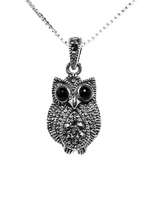 Marcasite Owl Pendant