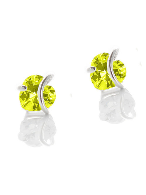 Citrine Heart Stud Earrings