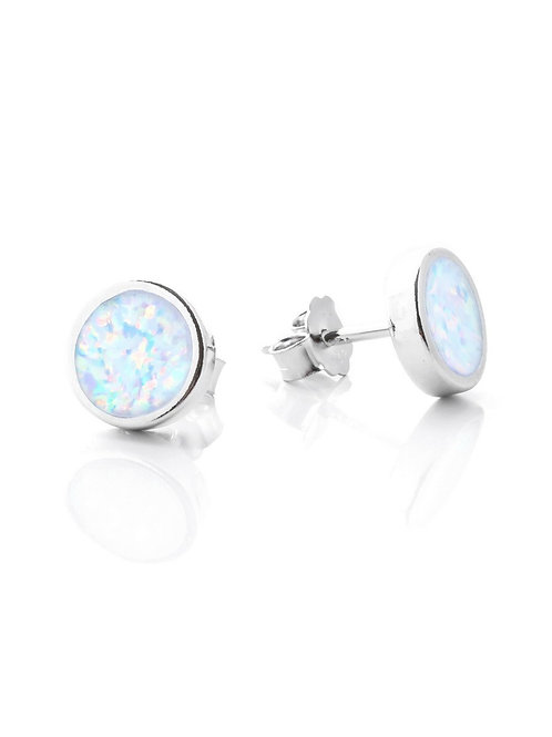 White Opal Round Studs