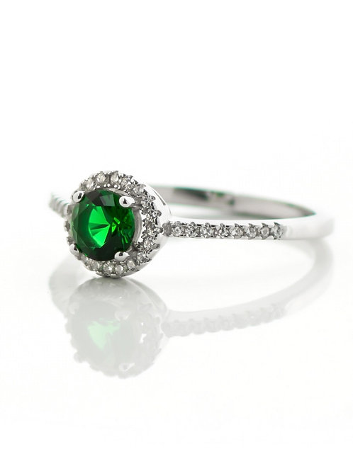 Emerald Green Small Pave Ring