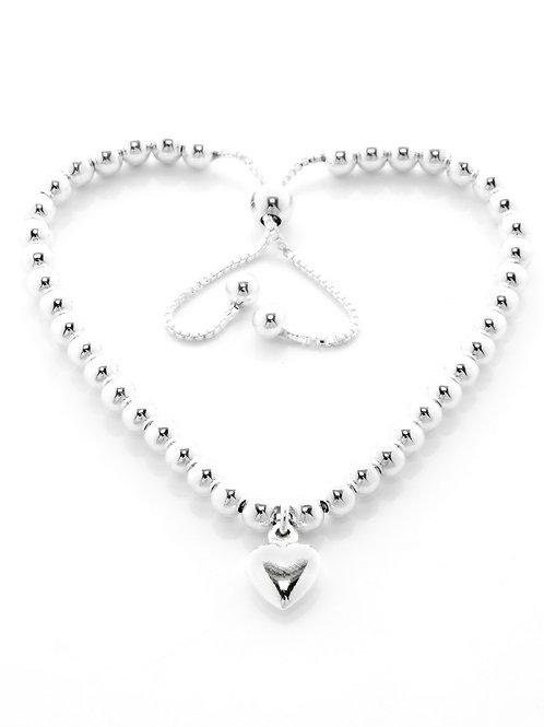 Bead slider heart charm bracelet