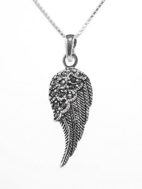 Marcasite Angel Wing Pendant