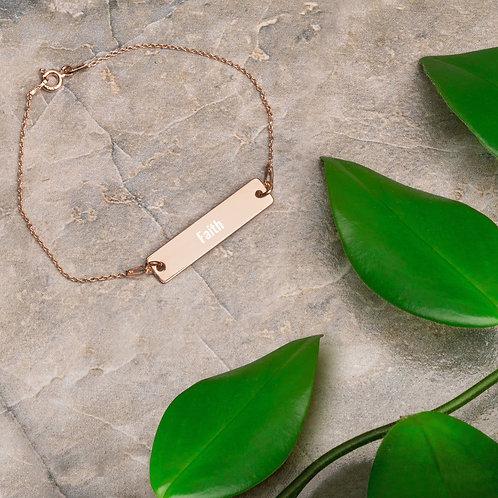 Faith Engraved Bar Chain Bracelet