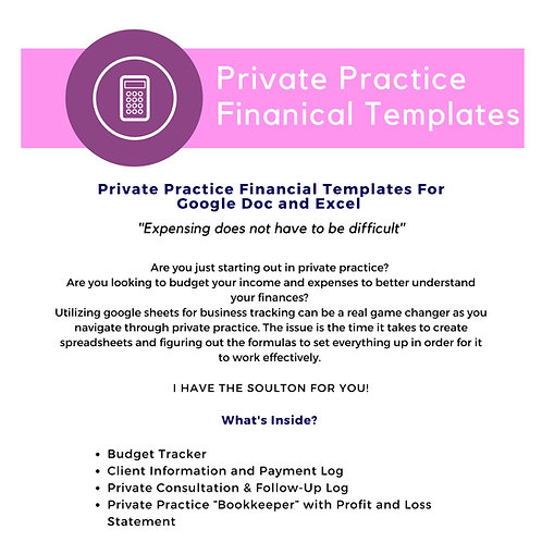 Private Practice Financial Templates